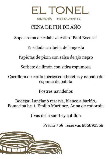 Restaurante El Tonel - CENA DE FIN DE AÑO - Restaurante Sidrería El Tonel