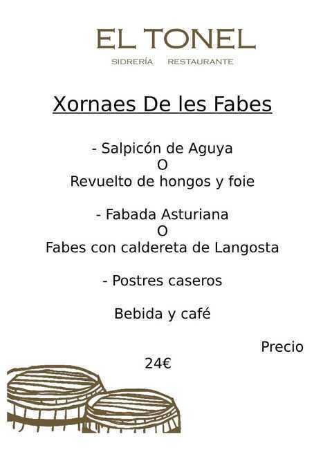 Restaurante El Tonel -  XXV XORNAES de les FABES  en Villavivciosa - Restaurante Sidrería El Tonel